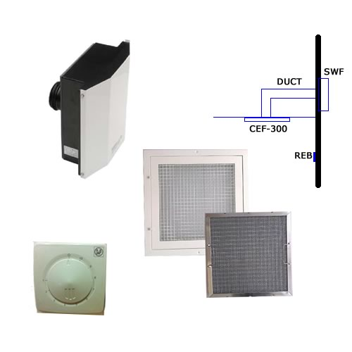 Kitchen Extract Grill with Grease Filter and External Wall Fan