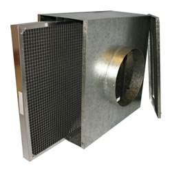 Duct Mounted Filter Box With Metal Washable Filter - Non Std Panel - 150mm